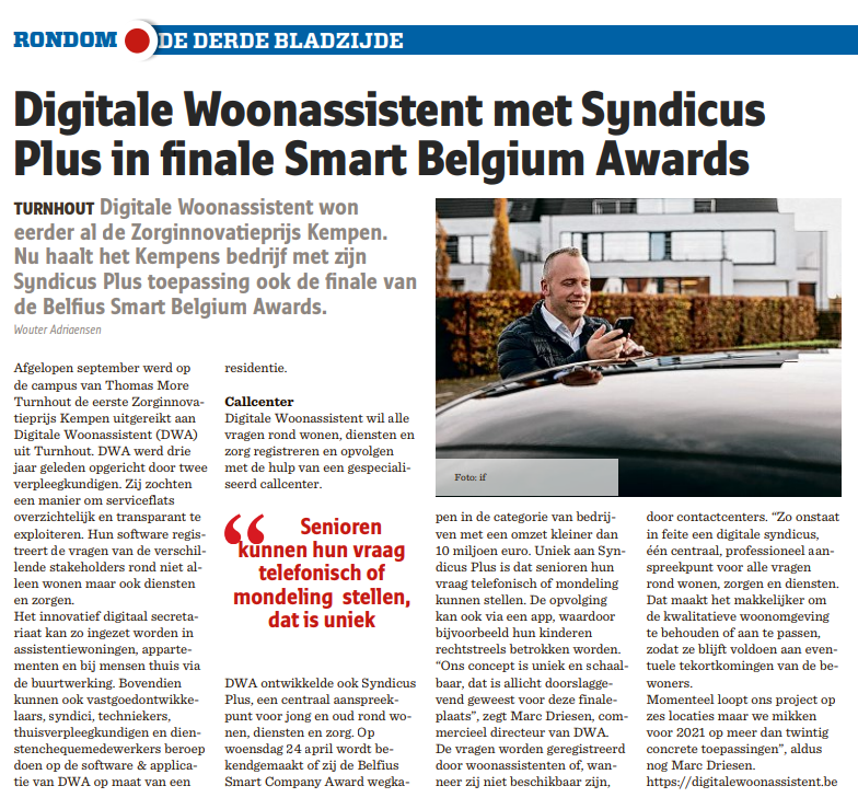Digitale Woonassistent met Syndicus Plus in finale Smart Belgium Awards